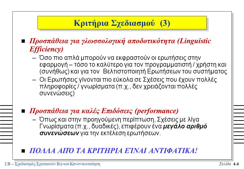 Ι.Β – Σχεδιασμός Σχεσιακών ΒΔ και ΚανονικοποίησηΣελίδα 4.7 Παράδειγμα «Κακού» Σχεδιασμού n Έστω η Βάση με ένα Σχήμα Σχέσης: ED(SSN, EName, Salary, DNumber, DName, Location, MgrSSN) Q1: Βρες όλους τους Υπαλλήλους που βγάζουν πιο πολλά από τον Προϊστάμενό τους selecte.EName fromED e, ED m wheree.MgrSSN = m.SSN and e.Salary > m.Salary Q2: Για κάθε Τμήμα, Βρες τον μέγιστο μισθό select DName, max(Salary) from ED group by DNumber