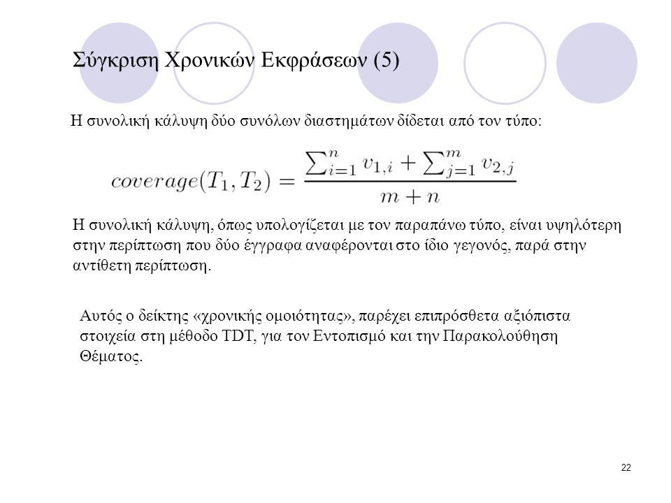 22 Σύγκριση Χρονικών Εκφράσεων (5) Η συνολική κάλυψη δύο συνόλων διαστημάτων δίδεται από τον τύπο: Η συνολική κάλυψη, όπως υπολογίζεται με τον παραπάνω τύπο, είναι υψηλότερη στην περίπτωση που δύο έγγραφα αναφέρονται στο ίδιο γεγονός, παρά στην αντίθετη περίπτωση.