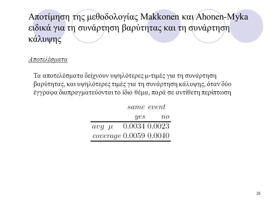 26 Αποτίμηση της μεθοδολογίας Makkonen και Ahonen-Myka ειδικά για τη συνάρτηση βαρύτητας και τη συνάρτηση κάλυψης Αποτελέσματα Τα αποτελέσματα δείχνουν υψηλότερες μ-τιμές για τη συνάρτηση βαρύτητας, και υψηλότερες τιμές για τη συνάρτηση κάλυψης, όταν δύο έγγραφα διαπραγματεύονται το ίδιο θέμα, παρά σε αντίθετη περίπτωση