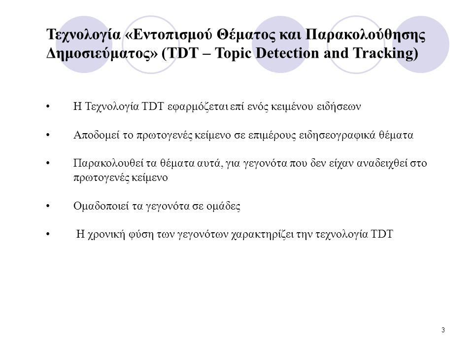 3 Η Τεχνολογία TDT εφαρμόζεται επί ενός κειμένου ειδήσεων Αποδομεί το πρωτογενές κείμενο σε επιμέρους ειδησεογραφικά θέματα Παρακολουθεί τα θέματα αυτά, για γεγονότα που δεν είχαν αναδειχθεί στο πρωτογενές κείμενο Ομαδοποιεί τα γεγονότα σε ομάδες Η χρονική φύση των γεγονότων χαρακτηρίζει την τεχνολογία TDT Τεχνολογία «Εντοπισμού Θέματος και Παρακολούθησης Δημοσιεύματος» (TDT – Topic Detection and Tracking)