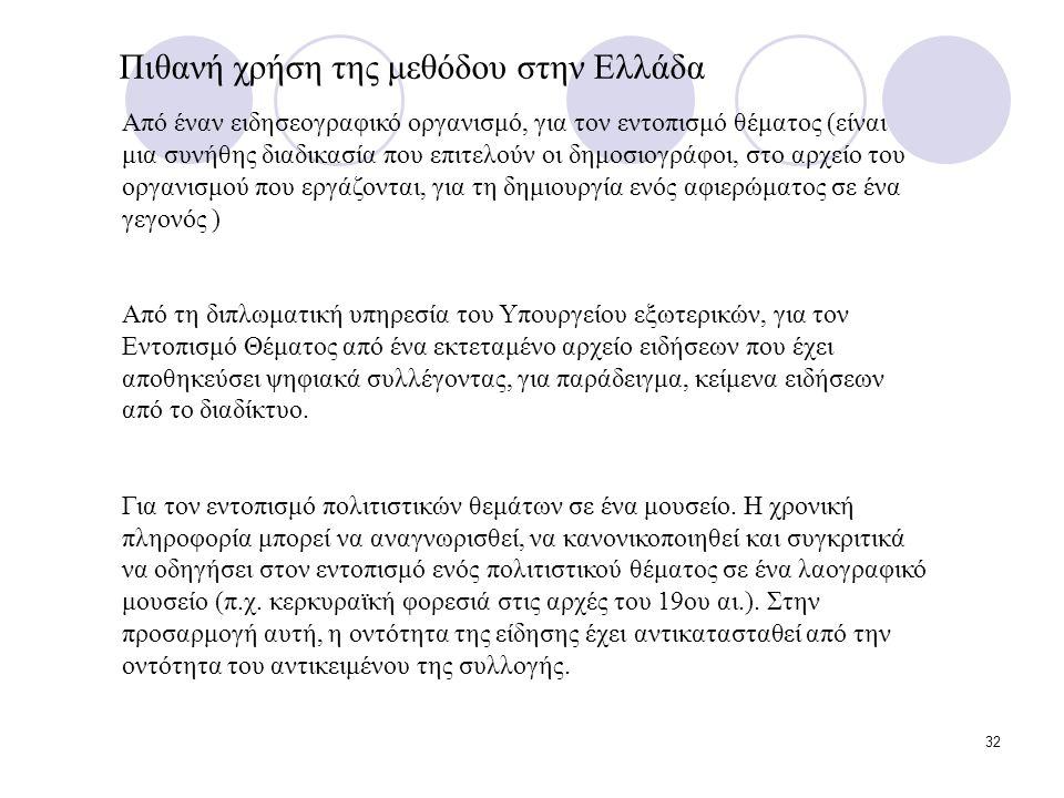 32 Πιθανή χρήση της μεθόδου στην Ελλάδα Από έναν ειδησεογραφικό οργανισμό, για τον εντοπισμό θέματος (είναι μια συνήθης διαδικασία που επιτελούν οι δημοσιογράφοι, στο αρχείο του οργανισμού που εργάζονται, για τη δημιουργία ενός αφιερώματος σε ένα γεγονός ) Από τη διπλωματική υπηρεσία του Υπουργείου εξωτερικών, για τον Εντοπισμό Θέματος από ένα εκτεταμένο αρχείο ειδήσεων που έχει αποθηκεύσει ψηφιακά συλλέγοντας, για παράδειγμα, κείμενα ειδήσεων από το διαδίκτυο.