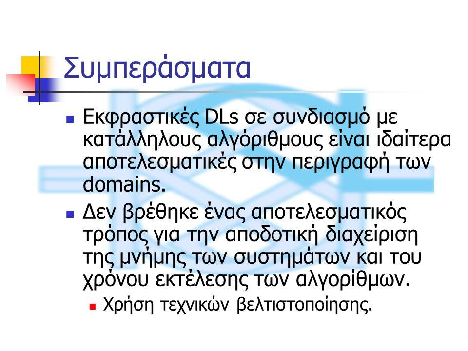 Συμπεράσματα Εκφραστικές DLs σε συνδιασμό με κατάλληλους αλγόριθμους είναι ιδαίτερα αποτελεσματικές στην περιγραφή των domains.