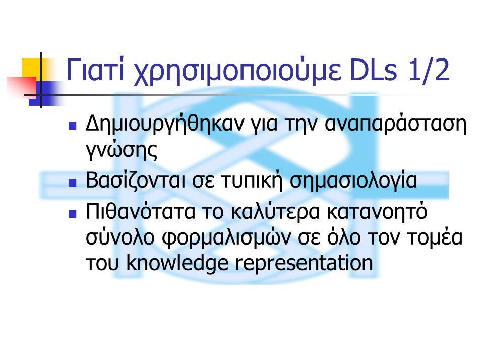 Γιατί χρησιμοποιούμε DLs 1/2 Δημιουργήθηκαν για την αναπαράσταση γνώσης Βασίζονται σε τυπική σημασιολογία Πιθανότατα το καλύτερα κατανοητό σύνολο φορμαλισμών σε όλο τον τομέα του knowledge representation