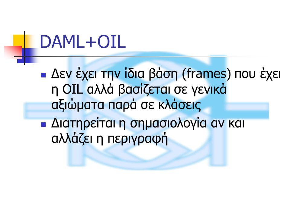 DAML+OIL Δεν έχει την ίδια βάση (frames) που έχει η OIL αλλά βασίζεται σε γενικά αξιώματα παρά σε κλάσεις Διατηρείται η σημασιολογία αν και αλλάζει η περιγραφή