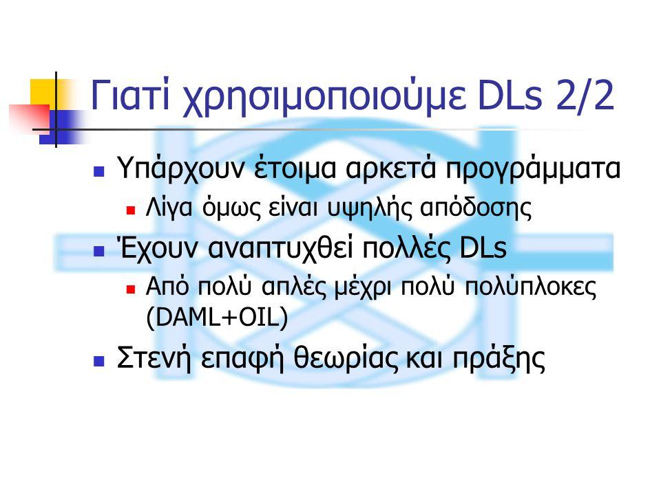 Υπάρχει editor για DAML+OIL οντολογίες OilEd Περιέχει συστήματα εξαγωγής συμπερασμάτων (FaCT) Η οντολογία μετατρέπεται σε SHIQ DL Επικοινωνεί με το FaCT μέσω CORBA Αναφέρει ασυνέπειες και υπονοούμενες υπαγωγές