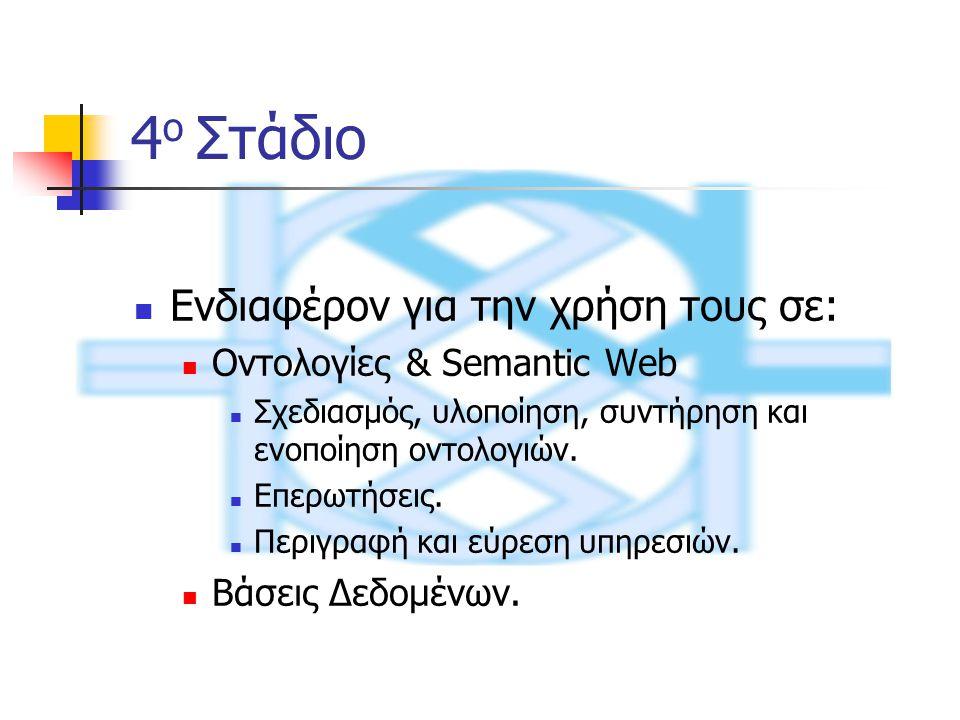 4 ο Στάδιο Ενδιαφέρον για την χρήση τους σε: Οντολογίες & Semantic Web Σχεδιασμός, υλοποίηση, συντήρηση και ενοποίηση οντολογιών.