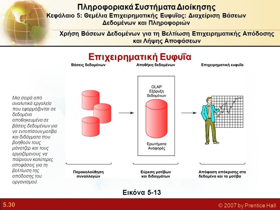 5.30 © 2007 by Prentice Hall Χρήση Βάσεων Δεδομένων για τη Βελτίωση Επιχειρηματικής Απόδοσης και Λήψης Αποφάσεων Πληροφοριακά Συστήματα Διοίκησης Κεφάλαιο 5: Θεμέλια Επιχειρηματικής Ευφυΐας: Διαχείριση Βάσεων Δεδομένων και Πληροφοριών Εικόνα 5-13 Μια σειρά από αναλυτικά εργαλεία που εφαρμόζονται σε δεδομένα αποθηκευμένα σε βάσεις δεδομένων για να εντοπίσουν μοτίβα και διδάγματα που βοηθούν τους μάνατζερ και τους εργαζόμενους να παίρνουν καλύτερες αποφάσεις για τη βελτίωση της απόδοσης του οργανισμού.