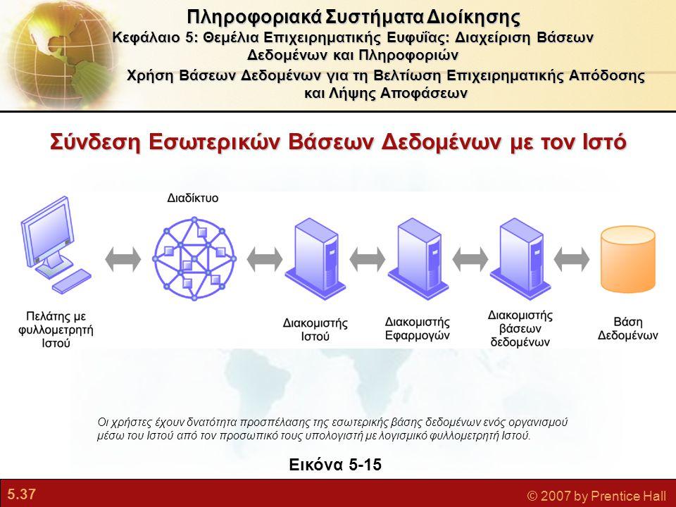 5.37 © 2007 by Prentice Hall Χρήση Βάσεων Δεδομένων για τη Βελτίωση Επιχειρηματικής Απόδοσης και Λήψης Αποφάσεων Πληροφοριακά Συστήματα Διοίκησης Κεφάλαιο 5: Θεμέλια Επιχειρηματικής Ευφυΐας: Διαχείριση Βάσεων Δεδομένων και Πληροφοριών Εικόνα 5-15 Οι χρήστες έχουν δνατότητα προσπέλασης της εσωτερικής βάσης δεδομένων ενός οργανισμού μέσω του Ιστού από τον προσωπικό τους υπολογιστή με λογισμικό φυλλομετρητή Ιστού.
