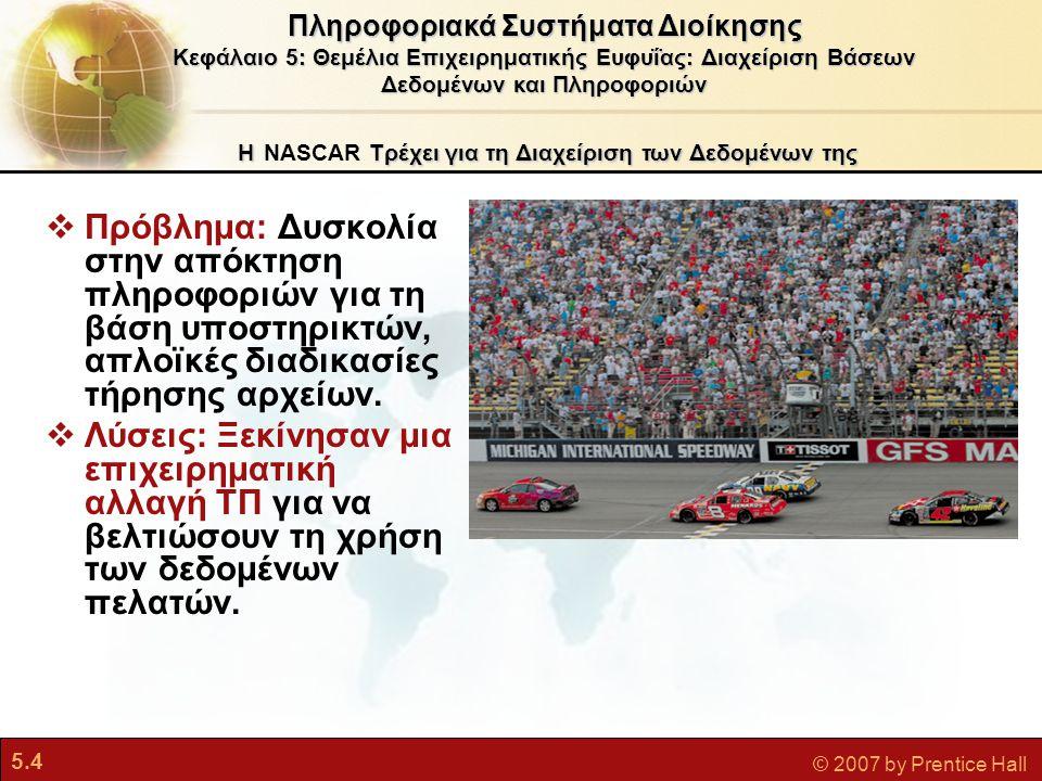 5.4 © 2007 by Prentice Hall ΗΤρέχει για τη Διαχείριση των Δεδομένων της Η NASCAR Τρέχει για τη Διαχείριση των Δεδομένων της  Πρόβλημα: Δυσκολία στην απόκτηση πληροφοριών για τη βάση υποστηρικτών, απλοϊκές διαδικασίες τήρησης αρχείων.