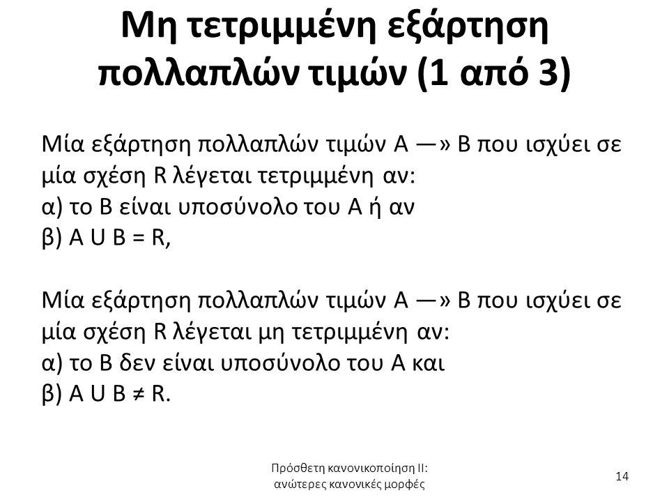 Μη τετριμμένη εξάρτηση πολλαπλών τιμών (1 από 3) Μία εξάρτηση πολλαπλών τιμών Α —» Β που ισχύει σε μία σχέση R λέγεται τετριμμένη αν: α) το Β είναι υπ