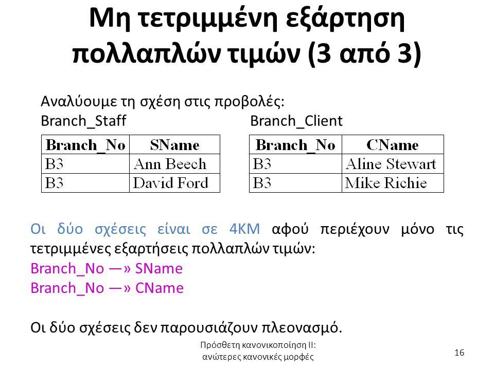 Μη τετριμμένη εξάρτηση πολλαπλών τιμών (3 από 3) Αναλύουμε τη σχέση στις προβολές: Branch_Staff Branch_Client Οι δύο σχέσεις είναι σε 4ΚΜ αφού περιέχο
