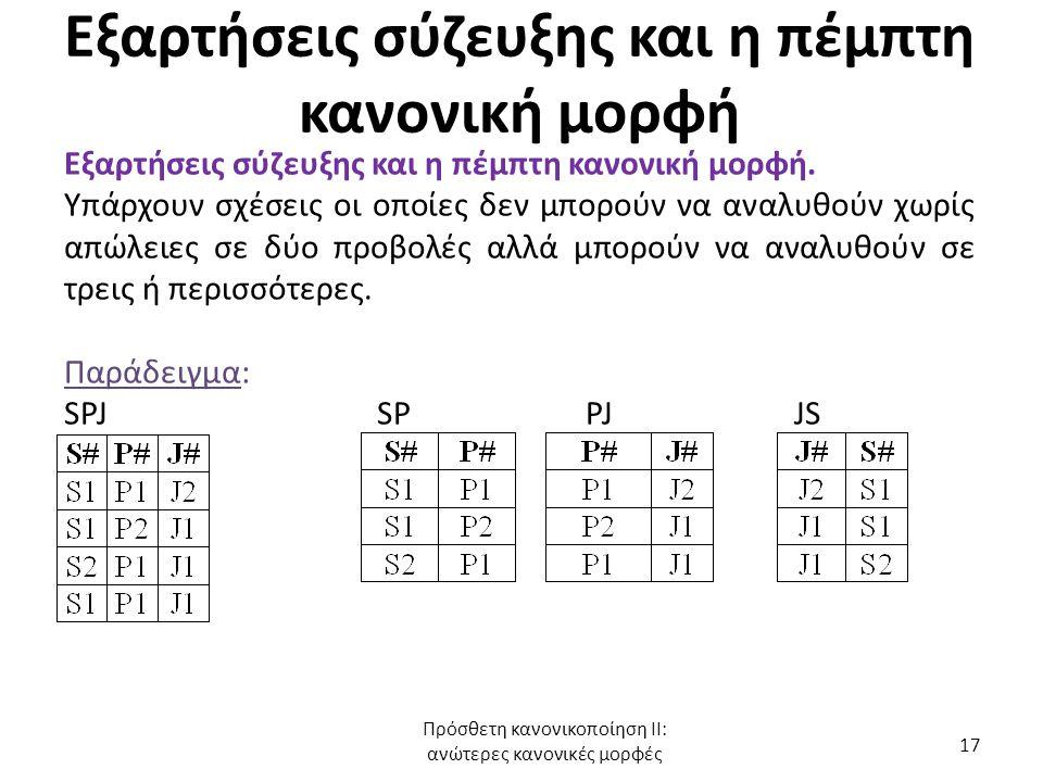 Εξαρτήσεις σύζευξης και η πέμπτη κανονική μορφή Εξαρτήσεις σύζευξης και η πέμπτη κανονική μορφή. Υπάρχουν σχέσεις οι οποίες δεν μπορούν να αναλυθούν χ