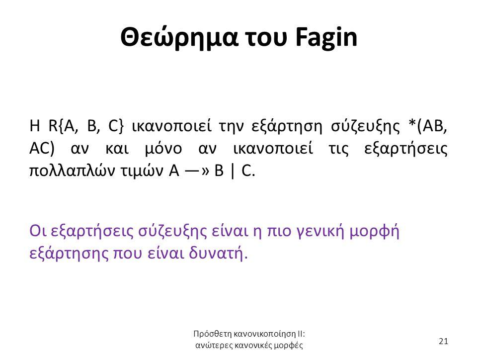 Θεώρημα του Fagin Η R{A, B, C} ικανοποιεί την εξάρτηση σύζευξης *(AB, AC) αν και μόνο αν ικανοποιεί τις εξαρτήσεις πολλαπλών τιμών Α —» Β | C. Οι εξαρ
