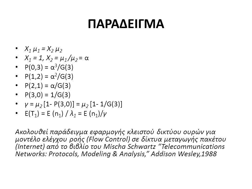 ΠΑΡΑΔΕΙΓΜΑ Χ 1 μ 1 = Χ 2 μ 2 Χ 1 = 1, Χ 2 = μ 1 /μ 2 = α P(0,3) = α 3 /G(3) P(1,2) = α 2 /G(3) P(2,1) = α/G(3) P(3,0) = 1/G(3) γ = μ 2 [1- P(3,0)] = μ 2 [1- 1/G(3)] E(T 1 ) = E (n 1 ) / λ 1 = E (n 1 )/γ Ακολουθεί παράδειγμα εφαρμογής κλειστού δικτύου ουρών για μοντέλο ελέγχου ροής (Flow Control) σε δίκτυα μεταγωγής πακέτου (Internet) από το βιβλίο του Mischa Schwartz Telecommunications Networks: Protocols, Modeling & Analysis, Addison Wesley,1988