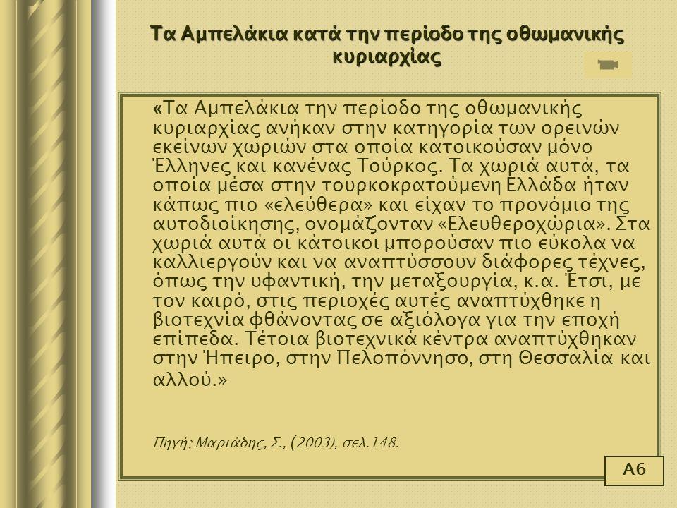 « Τα Αμπελάκια την περίοδο της οθωμανικής κυριαρχίας ανήκαν στην κατηγορία των ορεινών εκείνων χωριών στα οποία κατοικούσαν μόνο Έλληνες και κανένας Τ