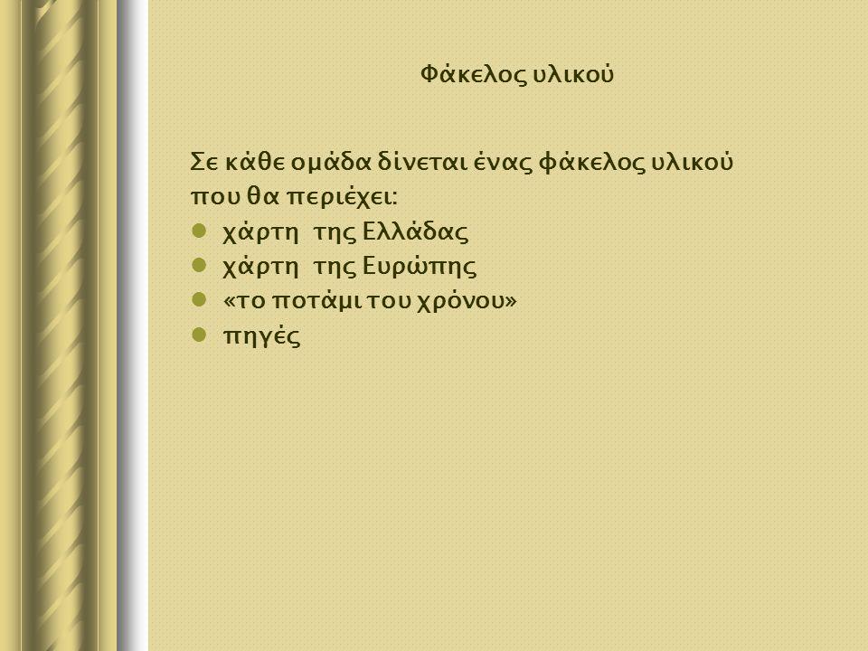 Φάκελος υλικού Σε κάθε ομάδα δίνεται ένας φάκελος υλικού που θα περιέχει: χάρτη της Ελλάδας χάρτη της Ευρώπης «το ποτάμι του χρόνου» πηγές
