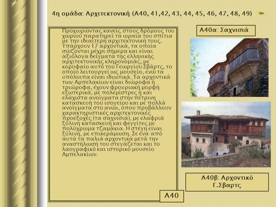4η ομάδα: Αρχιτεκτονική (Α40, 41,42, 43, 44, 45, 46, 47, 48, 49) Προχωρώντας κανείς στους δρόμους του χωριού παρατηρεί τα ωραία του σπίτια με την ιδια