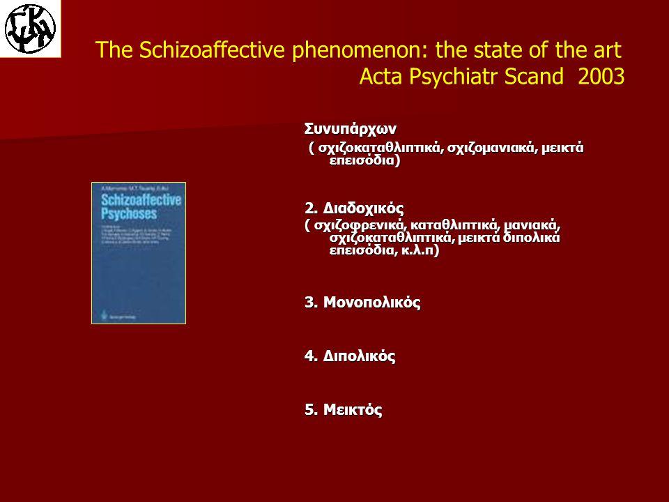 The Schizoaffective phenomenon: the state of the art Acta Psychiatr Scand 2003 Συνυπάρχων ( σχιζοκαταθλιπτικά, σχιζομανιακά, μεικτά επεισόδια) ( σχιζοκαταθλιπτικά, σχιζομανιακά, μεικτά επεισόδια) 2.
