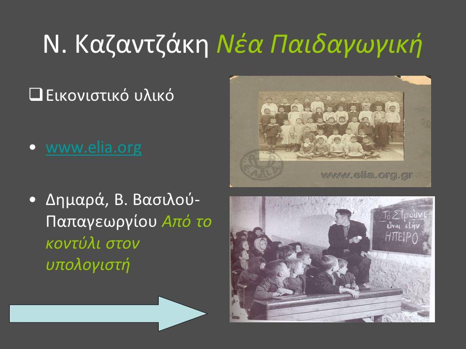 Ν. Καζαντζάκη Νέα Παιδαγωγική  Εικονιστικό υλικό www.elia.org Δημαρά, Β. Βασιλού- Παπαγεωργίου Από το κοντύλι στον υπολογιστή