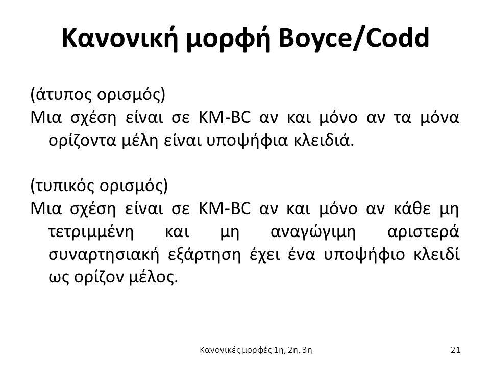 Κανονική μορφή Boyce/Codd (άτυπος ορισμός) Μια σχέση είναι σε ΚΜ-BC αν και μόνο αν τα μόνα ορίζοντα μέλη είναι υποψήφια κλειδιά.
