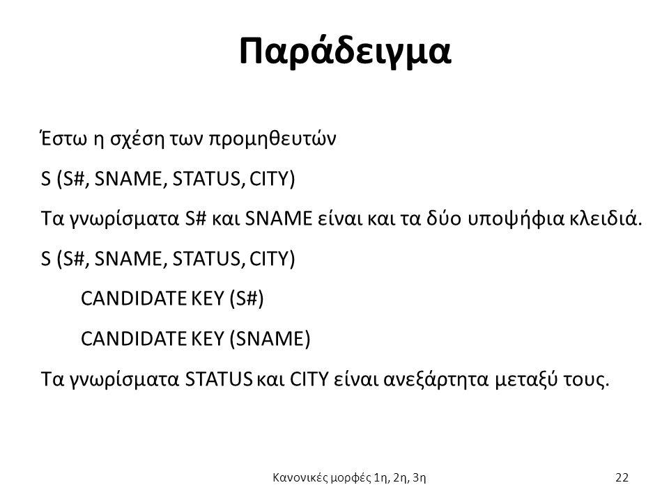 Παράδειγμα Έστω η σχέση των προμηθευτών S (S#, SNAME, STATUS, CITY) Τα γνωρίσματα S# και SNAME είναι και τα δύο υποψήφια κλειδιά.