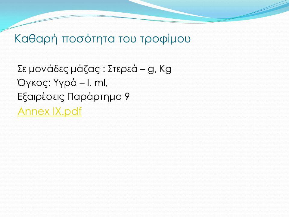 Πότε απαιτείται : συστατικά ή κατηγορία συστατικών στην ονομασία συστατικά ή κατηγορία συστατικών εικόνες Ουσιαστικής σημασίας για το χαρακτηρισμό τρο