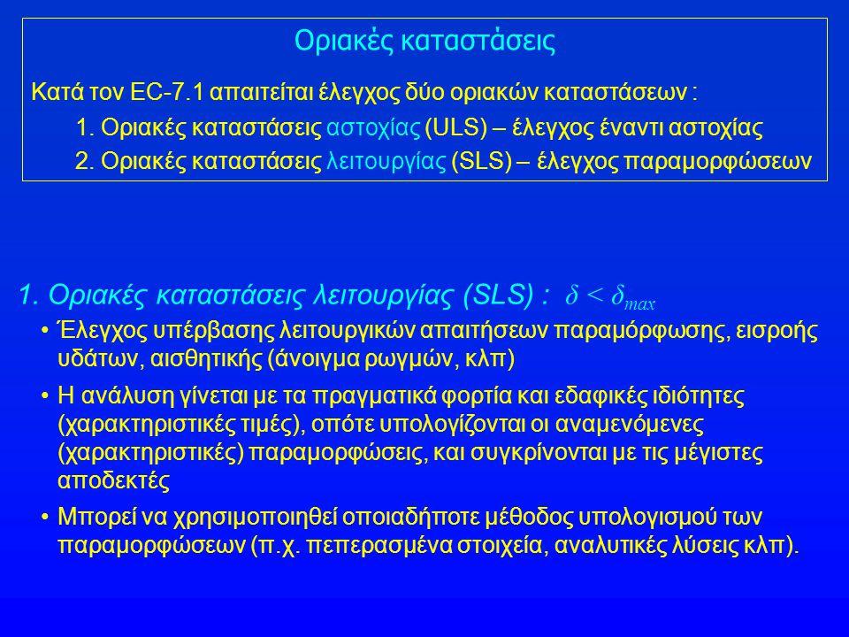 Οριακές καταστάσεις Κατά τον EC-7.1 απαιτείται έλεγχος δύο οριακών καταστάσεων : 1. Οριακές καταστάσεις αστοχίας (ULS) – έλεγχος έναντι αστοχίας 2. Ορ