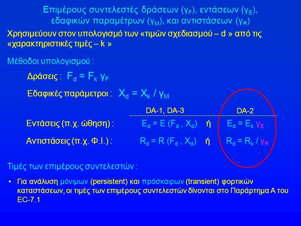 Επιμέρους συντελεστές δράσεων ( γ F ), εντάσεων ( γ Ε ), εδαφικών παραμέτρων ( γ Μ ), και αντιστάσεων ( γ R ) Εντάσεις (π.χ. ώθηση) : E d = E (F d, X