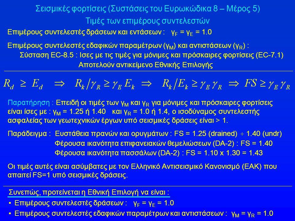 Σεισμικές φορτίσεις (Συστάσεις του Ευρωκώδικα 8 – Μέρος 5) Τιμές των επιμέρους συντελεστών Επιμέρους συντελεστές δράσεων και εντάσεων : γ F = γ Ε = 1.