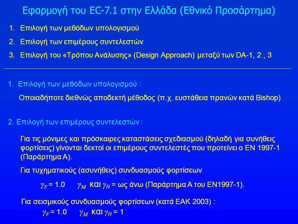 Εφαρμογή του EC-7.1 στην Ελλάδα (Εθνικό Προσάρτημα) 1.Επιλογή των μεθόδων υπολογισμού 2.Επιλογή των επιμέρους συντελεστών 3.Επιλογή του «Τρόπου Ανάλυσ