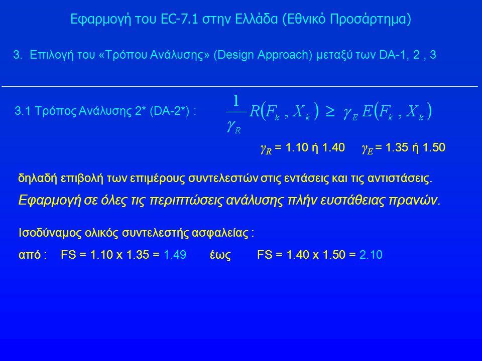 Εφαρμογή του EC-7.1 στην Ελλάδα (Εθνικό Προσάρτημα) 3.1 Τρόπος Ανάλυσης 2* (DA-2*) : γ R = 1.10 ή 1.40 γ E = 1.35 ή 1.50 δηλαδή επιβολή των επιμέρους