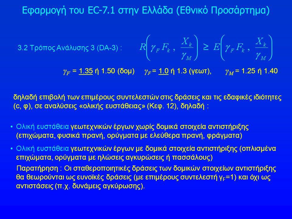 Εφαρμογή του EC-7.1 στην Ελλάδα (Εθνικό Προσάρτημα) 3.2 Τρόπος Ανάλυσης 3 (DA-3) : Ολική ευστάθεια γεωτεχνικών έργων χωρίς δομικά στοιχεία αντιστήριξη