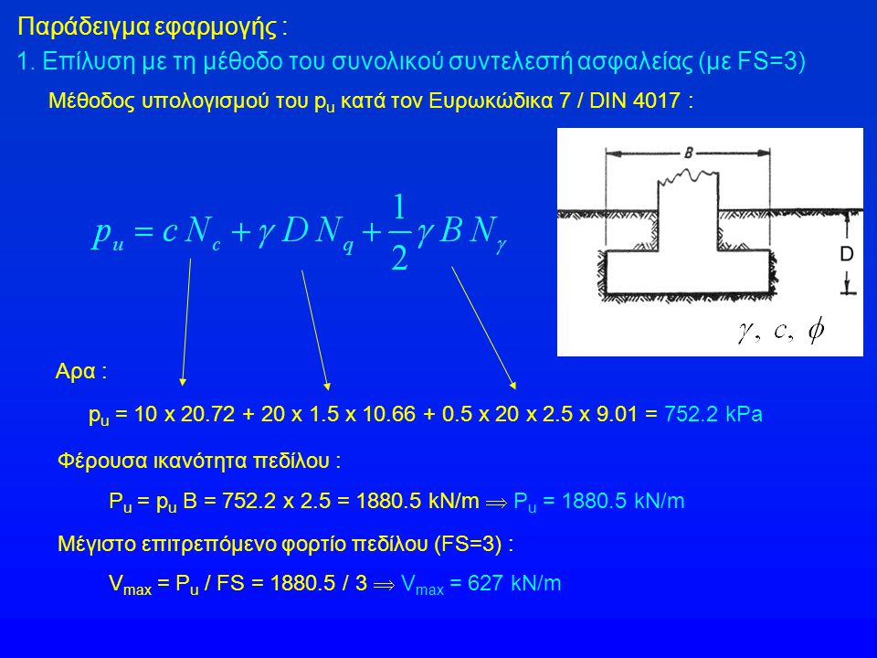 Παράδειγμα εφαρμογής : 1. Επίλυση με τη μέθοδο του συνολικού συντελεστή ασφαλείας (με FS=3) Μέθοδος υπολογισμού του p u κατά τον Ευρωκώδικα 7 / DIN 40