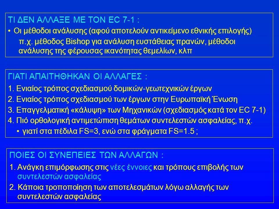 Τί άλλαξε με την εισαγωγή του Ευρωκώδικα 7 ΣΥΝΤΕΛΕΣΤΕΣ ΑΣΦΑΛΕΙΑΣ ΠΡΙΝ ΤΗΝ ΕΙΣΑΓΩΓΗ ΤΟΥ EC-7 1.Συνήθως γίνεται μόνον έλεγχος έναντι αστοχίας με χρήση ενός συνολικού συντελεστή ασφαλείας (FS) : π.χ.
