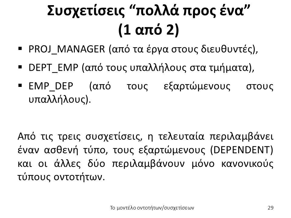 Συσχετίσεις πολλά προς ένα (1 από 2)  PROJ_MANAGER (από τα έργα στους διευθυντές),  DEPT_EMP (από τους υπαλλήλους στα τμήματα),  EMP_DEP (από τους εξαρτώμενους στους υπαλλήλους).