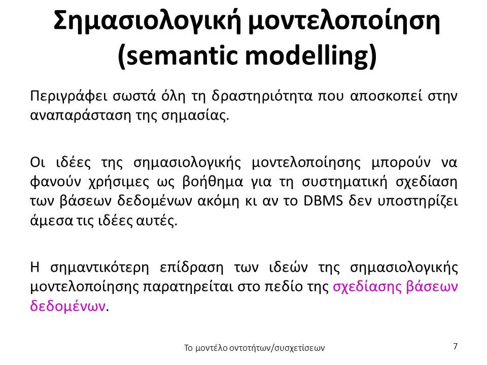 Σημασιολογική μοντελοποίηση (semantic modelling) Περιγράφει σωστά όλη τη δραστηριότητα που αποσκοπεί στην αναπαράσταση της σημασίας.