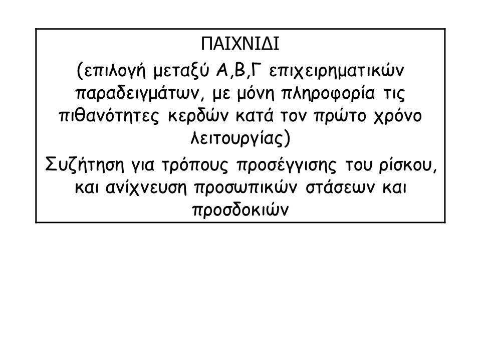 ΠΑΙΧΝΙΔΙ (επιλογή μεταξύ Α,Β,Γ επιχειρηματικών παραδειγμάτων, με μόνη πληροφορία τις πιθανότητες κερδών κατά τον πρώτο χρόνο λειτουργίας) Συζήτηση για