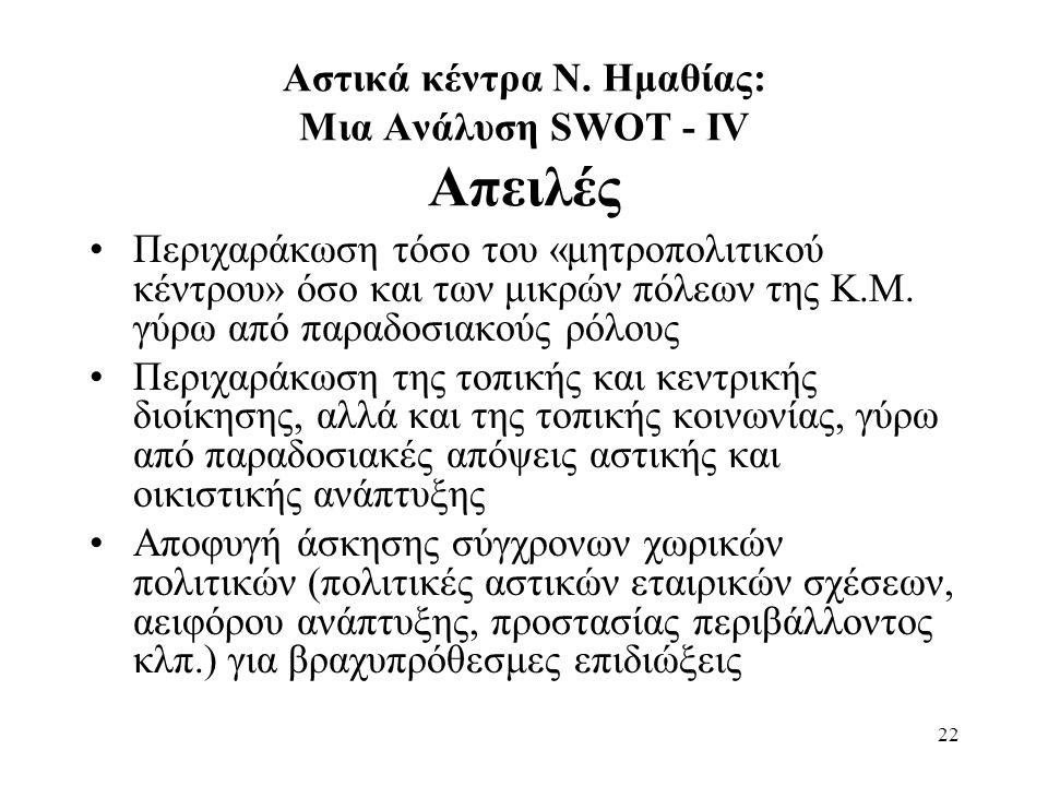 22 Αστικά κέντρα Ν. Ημαθίας: Μια Ανάλυση SWOT - ΙV Απειλές Περιχαράκωση τόσο του «μητροπολιτικού κέντρου» όσο και των μικρών πόλεων της Κ.Μ. γύρω από