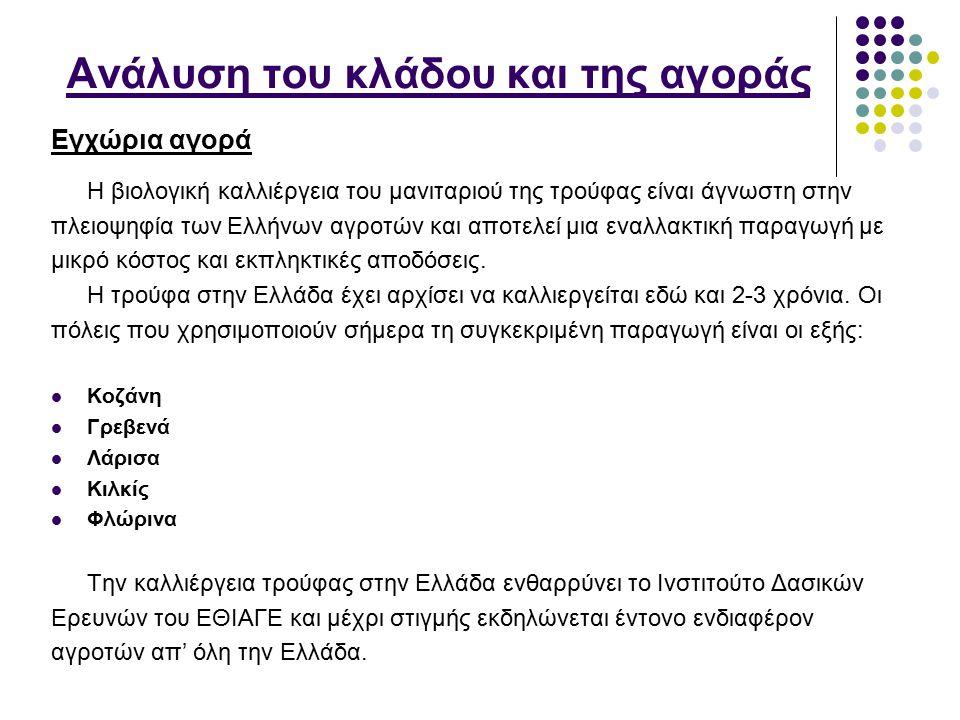 Ανάλυση του κλάδου και της αγοράς Η βιολογική καλλιέργεια του μανιταριού της τρούφας είναι άγνωστη στην πλειοψηφία των Ελλήνων αγροτών και αποτελεί μι