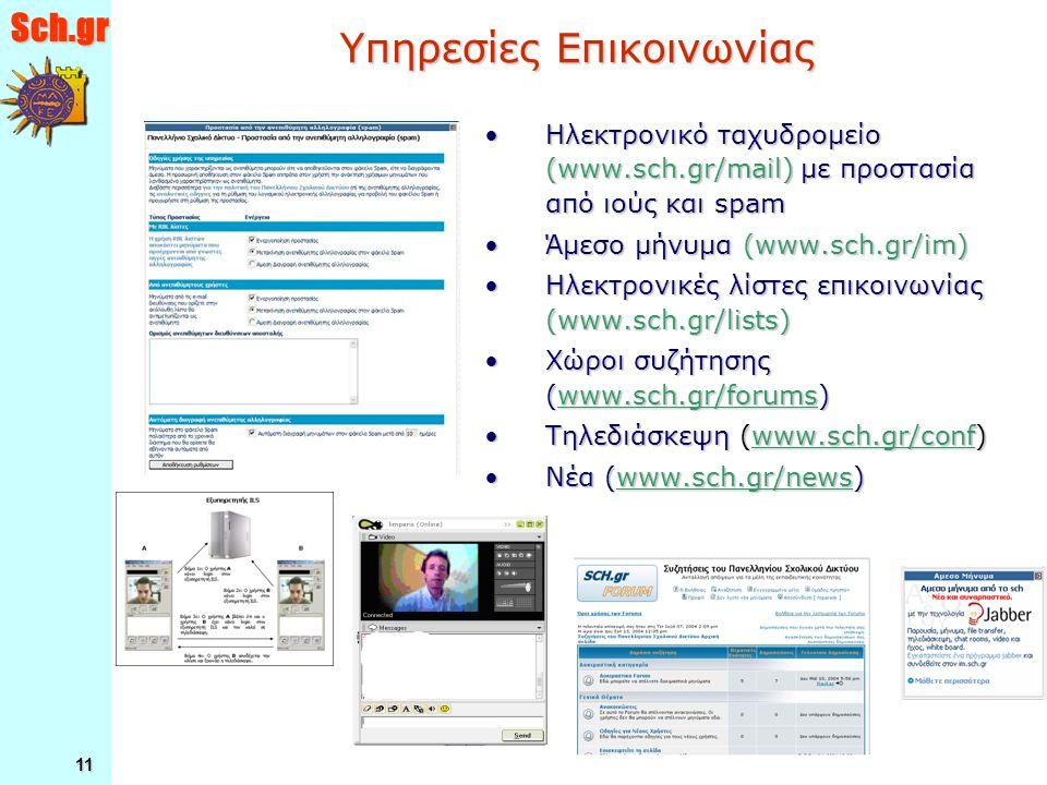 Sch.gr 11 Υπηρεσίες Επικοινωνίας Ηλεκτρονικό ταχυδρομείο (www.sch.gr/mail) με προστασία από ιούς και spamΗλεκτρονικό ταχυδρομείο (www.sch.gr/mail) με προστασία από ιούς και spam Άμεσο μήνυμα (www.sch.gr/im)Άμεσο μήνυμα (www.sch.gr/im) Ηλεκτρονικές λίστες επικοινωνίας (www.sch.gr/lists)Ηλεκτρονικές λίστες επικοινωνίας (www.sch.gr/lists) Χώροι συζήτησης (www.sch.gr/forums)Χώροι συζήτησης (www.sch.gr/forums) Τηλεδιάσκεψη (www.sch.gr/conf)Τηλεδιάσκεψη (www.sch.gr/conf) Νέα (www.sch.gr/news)Νέα (www.sch.gr/news)