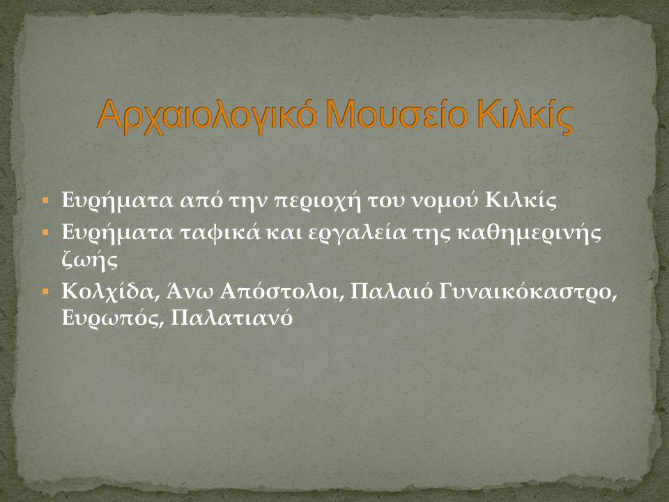  Ευρήματα από την περιοχή του νομού Κιλκίς  Ευρήματα ταφικά και εργαλεία της καθημερινής ζωής  Κολχίδα, Άνω Απόστολοι, Παλαιό Γυναικόκαστρο, Ευρωπό