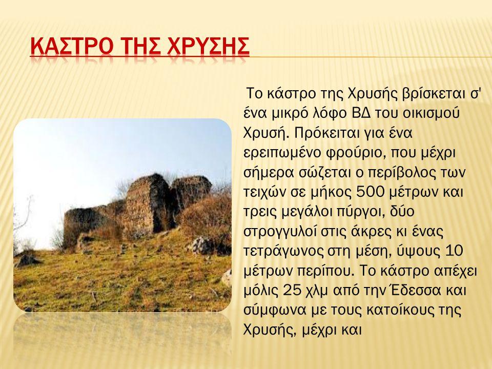 Το κάστρο της Χρυσής βρίσκεται σ' ένα μικρό λόφο ΒΔ του οικισμού Χρυσή. Πρόκειται για ένα ερειπωμένο φρούριο, που μέχρι σήμερα σώζεται ο περίβολος των