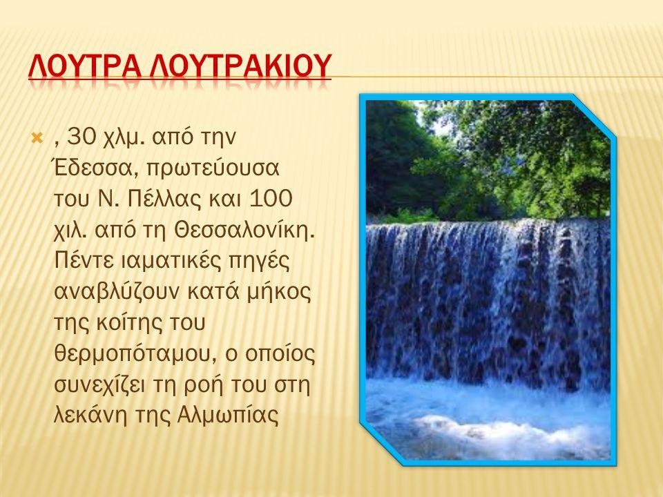 , 30 χλμ. από την Έδεσσα, πρωτεύουσα του Ν. Πέλλας και 100 χιλ. από τη Θεσσαλονίκη. Πέντε ιαματικές πηγές αναβλύζουν κατά μήκος της κοίτης του θερμοπ