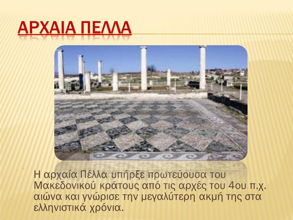 . Η αρχαία Πέλλα υπήρξε πρωτεύουσα του Μακεδονικού κράτους από τις αρχές του 4ου π.χ. αιώνα και γνώρισε την μεγαλύτερη ακμή της στα ελληνιστικά χρόνι