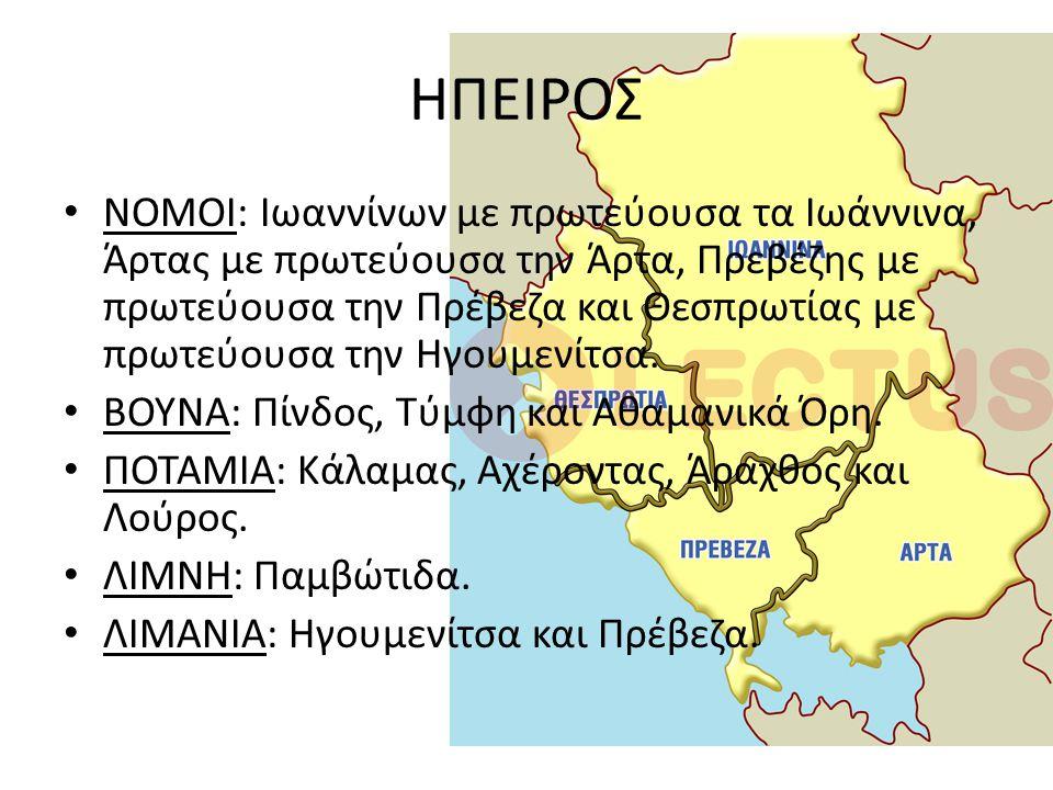 ΗΠΕΙΡΟΣ ΝΟΜΟΙ: Ιωαννίνων με πρωτεύουσα τα Ιωάννινα, Άρτας με πρωτεύουσα την Άρτα, Πρεβέζης με πρωτεύουσα την Πρέβεζα και Θεσπρωτίας με πρωτεύουσα την