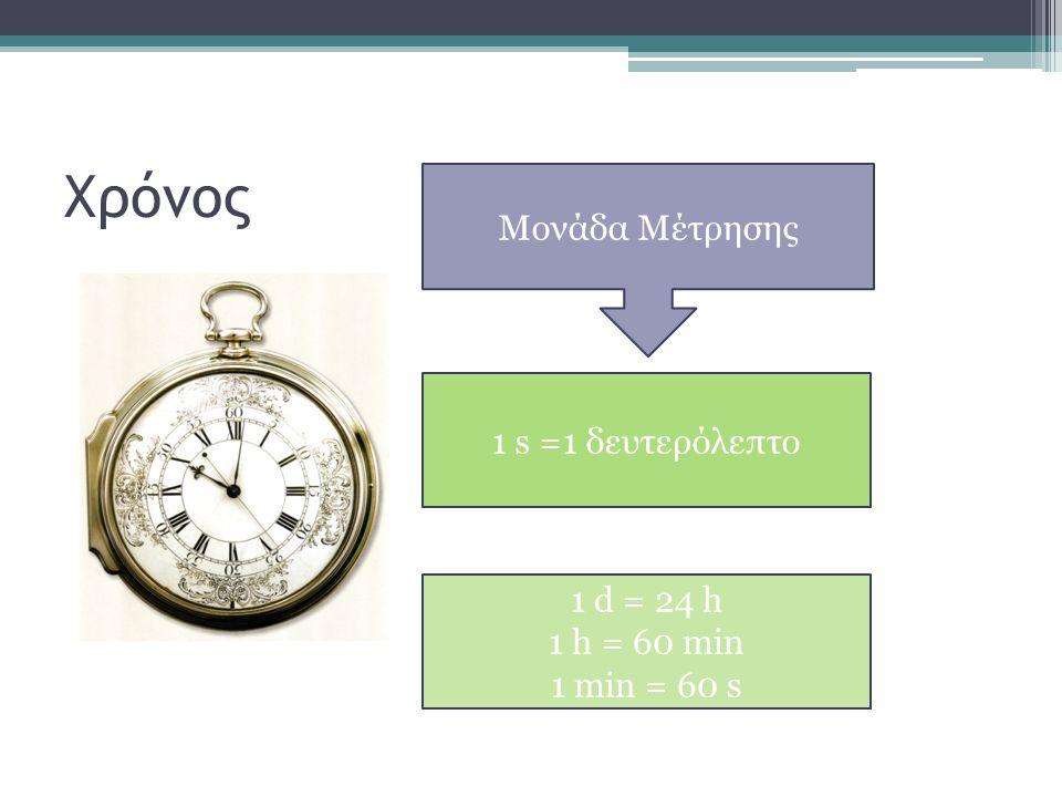 Χρόνος Μονάδα Μέτρησης 1 s =1 δευτερόλεπτο 1 d = 24 h 1 h = 60 min 1 min = 60 s