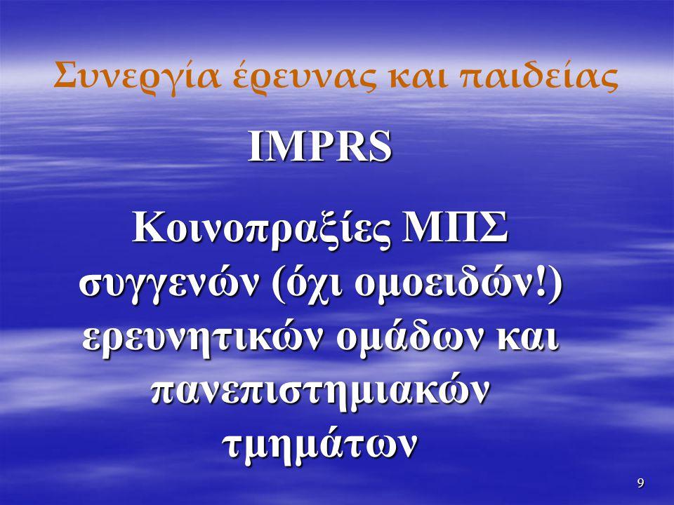 9 Συνεργία έρευνας και παιδείας IMPRS Κοινοπραξίες ΜΠΣ συγγενών (όχι ομοειδών!) ερευνητικών ομάδων και πανεπιστημιακών τμημάτων