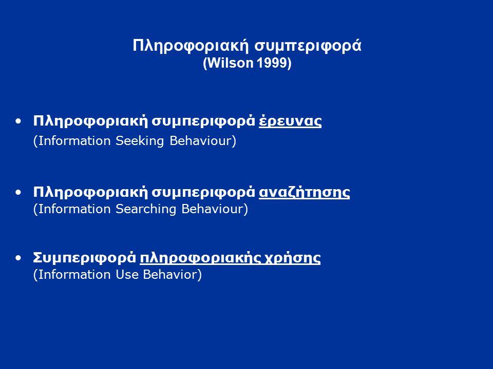 Πληροφοριακή συμπεριφορά (Wilson 1999) Πληροφοριακή συμπεριφορά έρευνας (Information Seeking Behaviour) Πληροφοριακή συμπεριφορά αναζήτησης (Information Searching Behaviour) Συμπεριφορά πληροφοριακής χρήσης (Information Use Behavior)