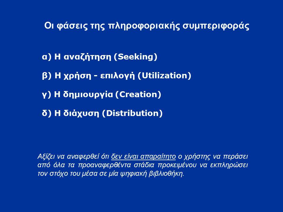 Οι φάσεις της πληροφοριακής συμπεριφοράς α) Η αναζήτηση (Seeking) β) Η χρήση - επιλογή (Utilization) γ) Η δημιουργία (Creation) δ) Η διάχυση (Distribution) Αξίζει να αναφερθεί ότι δεν είναι απαραίτητο ο χρήστης να περάσει από όλα τα προαναφερθέντα στάδια προκειμένου να εκπληρώσει τον στόχο του μέσα σε μία ψηφιακή βιβλιοθήκη.