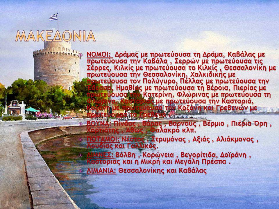  ΝΟΜΟΙ: Δράμας με πρωτεύουσα τη Δράμα, Καβάλας με πρωτεύουσα την Καβάλα, Σερρών με πρωτεύουσα τις Σέρρες, Κιλκίς με πρωτεύουσα το Κιλκίς, Θεσσαλονίκη με πρωτεύουσα την Θεσσαλονίκη, Χαλκιδικής με πρωτεύουσα τον Πολύγυρο, Πέλλας με πρωτεύουσα την Έδεσσα, Ημαθίας με πρωτεύουσα τη Βέροια, Πιερίας με πρωτεύουσα την Κατερίνη, Φλώρινας με πρωτεύουσα τη Φλώρινα, Καστοριάς με πρωτεύουσα την Καστοριά, Κοζάνη με πρωτεύουσα την Κοζάνη και Γρεβενών με πρωτεύουσα τα Γρεβενά.